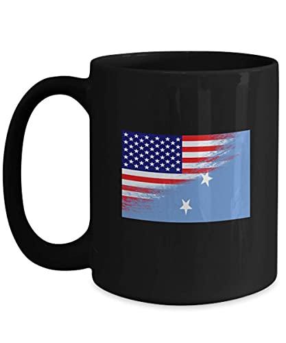 N\A USA Mikronesien Flagge polynesische 11oz Schwarze Kaffeetasse Teetasse
