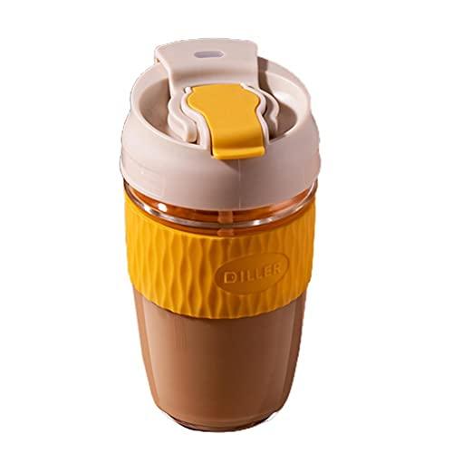 Brteyes Taza de café, botella de agua reutilizable, taza de agua de vidrio con tapa y pajita, resistente al calor, botella de agua para el hogar, oficina, bebidas frías y calientes, regalo