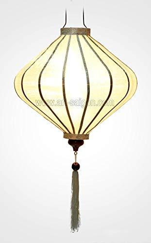 Asiatische Lampion aus Seide, weiß, T – Ø 39 cm – Handwerkskunst aus Vietnam (RÉF) T25-B)