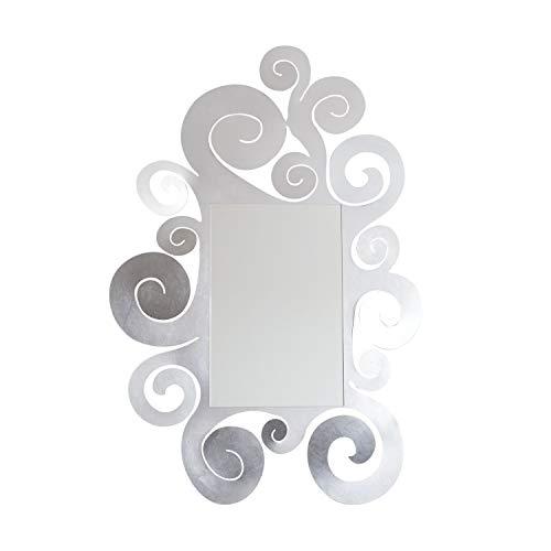 Arti & Mestieri Temple – Grand miroir design 100 % fabriqué en Italie – en fer, 90 x 130 cm – Argent