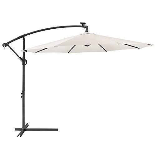 Arebos Parasol con LED | Paraguas de Jardín | Paraguas de Patio | Paraguas de Balcón | Paraguas con manivela | Plegable | Crema