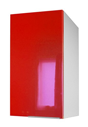 Berlioz Creations CP4HR Meuble Haut de Cuisine avec Porte Rouge Haute Brillance 40 x 34 x 70 cm
