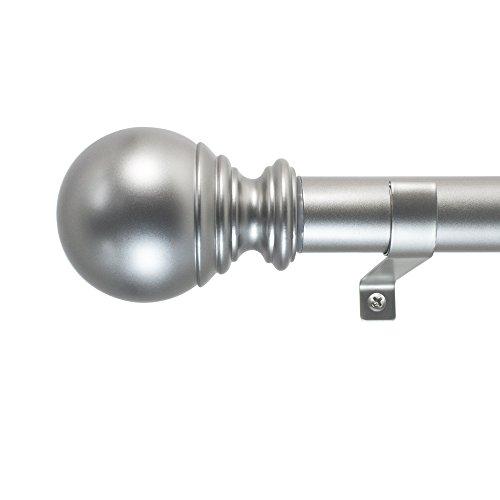 Decopolitan Ball Single Telescoping Drapery Rod Set, Long, Silver