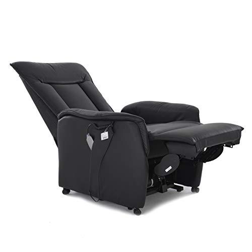 colourliving Fernsehsessel mit Aufstehhilfe elektrisch Relaxsessel mit 2 Motoren aus Leder im Sitzbereich in schwarz