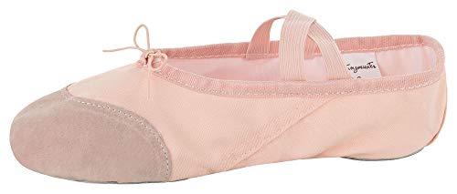 Zapatillas de Ballet de Media Punta - Lino con Punta Reforzada de Cuero, Suela Partida - Rosa Albaricoque - Talla: 28