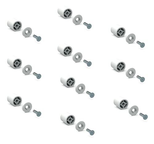 Tope de parada blanca, 40 mm, 10 unidades con arandelas y tornillos...