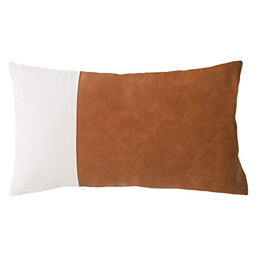 HOMFINER Decorative Lumbar Throw Pillow Cover for Bedroom Living Room Bed 12x20, Modern Boho Farmhouse Accent Pillow Case for Couch Sofa Cognac Brown White Faux Leather and 100% Cotton