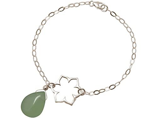 Gemshine - Pulsera - Plata de Ley - Flor de Loto - Mandala - Calcedonia - Lágrima - Gota - Verde - YOGA