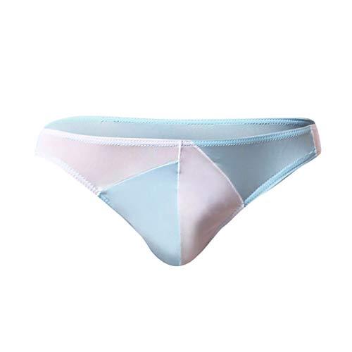 EUCoo Perizoma per Uomo Tanga Uomo Cotone Cucitura di personalità Vita Bassa Biancheria Intima Confortevole(Azzurro,Medium)