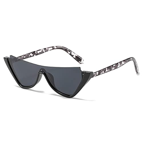 WANGZX Gafas De Sol De Ojo De Gato Semi Sin Marco Las Gafas De Sol Pequeñas Transparentes De Cristal De Moda para Mujer Son Adecuadas para El Tono De Mujer Uv400 C1Negro-Negro