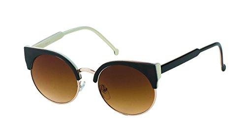 Chic-Net Hochwertige Sonnenbrille Damen rund Oberkante eckig Vintage Cat Eye 400UV Metallrahmen Retro weiß braun John Lennon