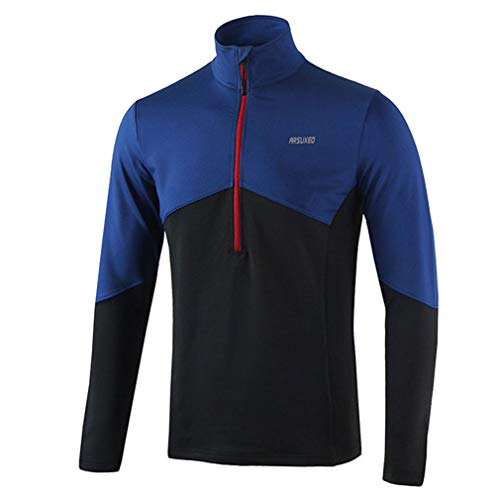 emansmoer Homme Outdoor Compression Long Sleeve Cyclisme Shirt Maillots 1/2 Zip Pullover Elastic Breathable Biking Bicycle Tops(M, Blue)