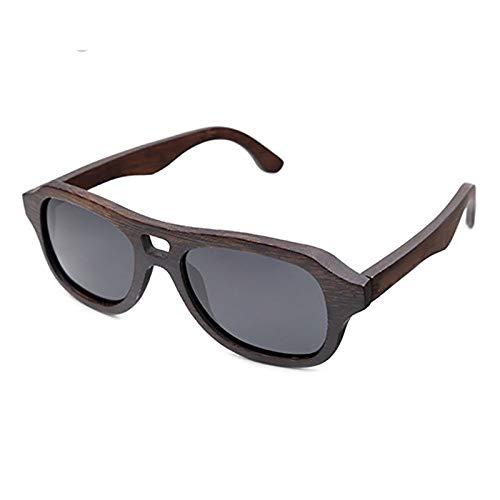 Picobao Gafas de Sol Glasses Gafas de Sol polarizadas, Gafas de bambú Hechas a Mano para Damas y Caballeros Uso Diario de Viajes y Deportes (Color : Gris)
