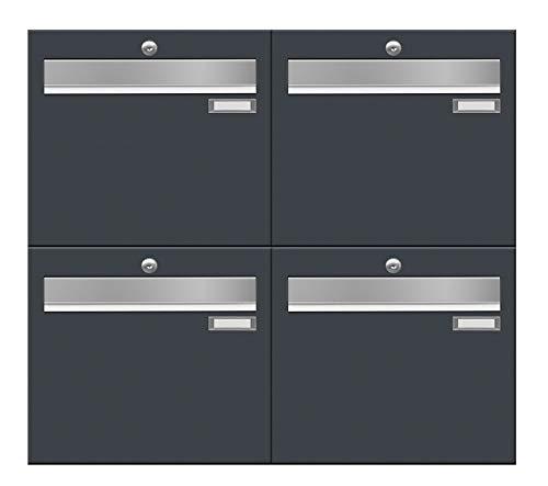 Frabox® 4-Fach Briefkastenanlage in RAL 7016 anthrazit - Letterbox - Made in Germany - super Regenschutz & langlebig - Verzinkter Stahl - Mehrfamilienhaus -