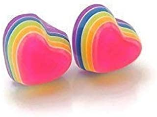 Invisible Clip On Tiny 8mm Layered Rainbow Heart Earrings for Non-Pierced Ears