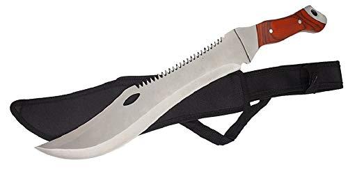 KOSxBO® große Machete mit Säge - Buschmesser - USA Crocodile Dundee Messser - 44,7cm lang - Survival - Freizeitmesser - Outdoor - Jagd - Macheten, braun Silber