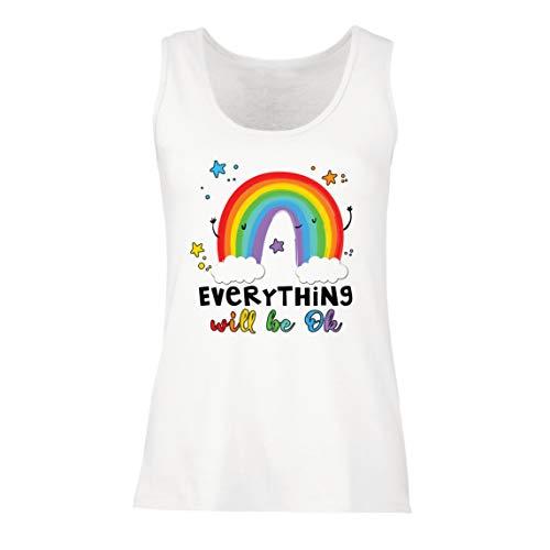 lepni.me Camisetas sin Mangas para Mujer Todo Estará Bien Andrà Tutto Bene Arcoiris de la Esperanza (Small Blanco Multicolor)