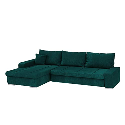 Selsey MARGARITKA - Ecksofa/Schlafcouch/Bezug wasserbeständig/Ottomane beidseitig montierbar/freistehend, 250 cm breit (Veloursbezug Grün)