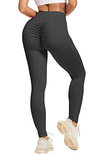 FITTOO Women's High Waisted Bottom Scrunch Leggings Ruched Yoga Pants Push up Butt Lift Trousers Workout Tights Black M