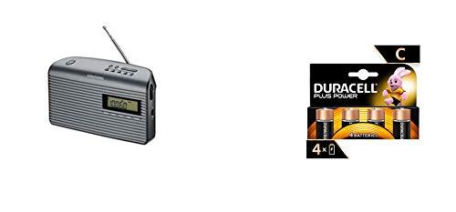 Grundig Music 61 empfangsstarkes Radio, schwarz/Graphit & Duracell Plus C Baby Alkaline Batterien LR14, 4er Pack