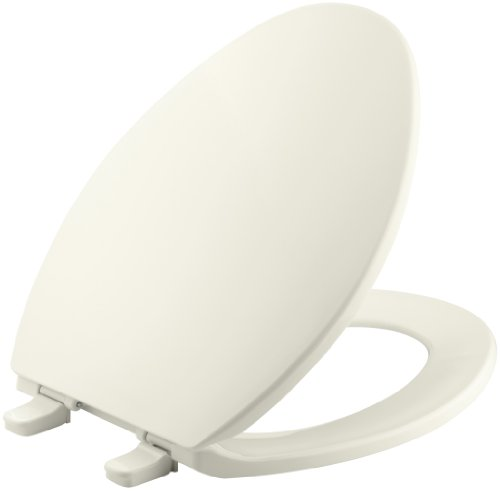 KOHLER K-4774-96 Brevia Elongated Toilet Seat with Quick-Release Hinges and Quick-Attach Hardware for Easy Clean in Biscuit
