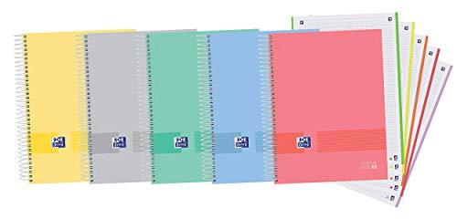 Oxford Cuaderno A4+, Europeanbook5 Oxford & You, Microperforado, Tapa extradura, 5 Bandas color, Cuadrícula 5x5, 120 Hojas, 90grs, 1 cuaderno, Colores aleatorios