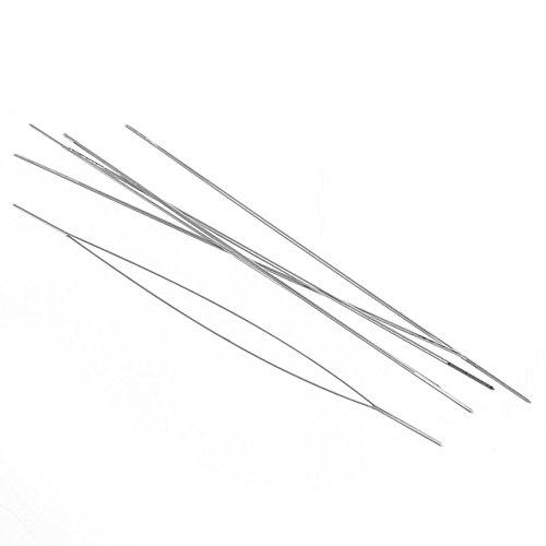 Review 5 pcs beading agulhas 0.3mm threading corda/cabo de pinos tom de prata bordados costura ferra...