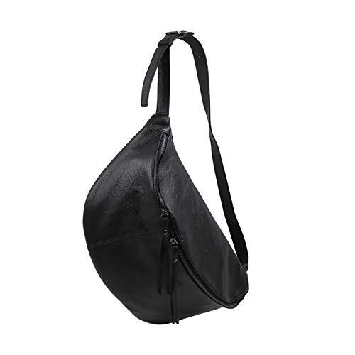 SH Leder echt Leder Damen unisex Brusttasche für Festival Reise gross Hüfttasche Crossbody Bag Frauen Ledertasche 49x28cm Daniela G768 (Schwarz)