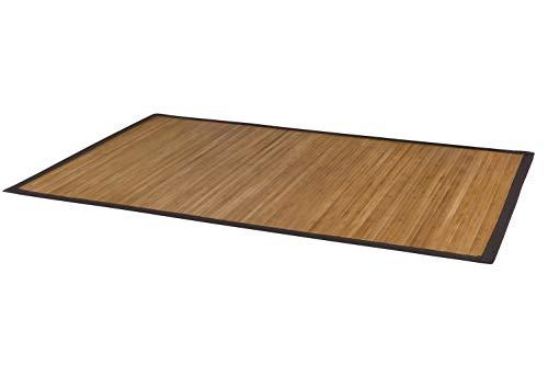 DE-Commerce Bambusteppich Natural für Schlafzimmer, Küche, Flur, Wohnzimmer, Bad, Büro I Teppichläufer Bettumrandung Brücke I Premium Bambusmatte 160 x 230 cm mit breiter Bordüre