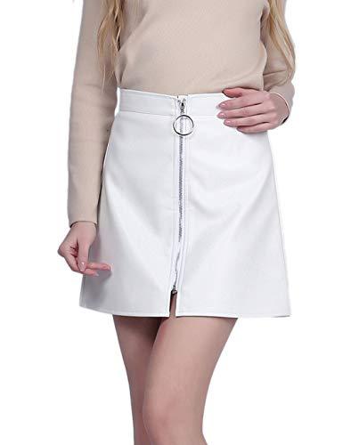 Sungtin Women's Classic High Waist Zipper Bodycon Faux Leather Mini Pencil Skirt White X-Large