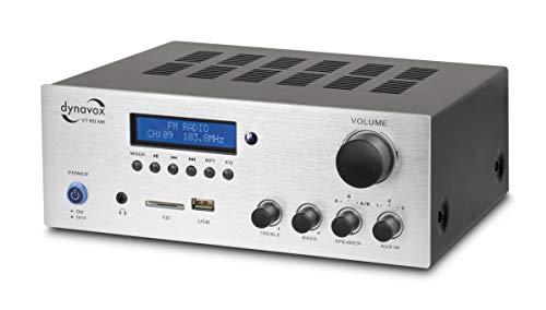 Dynavox Stereo Kompakt-Verstärker VT-80 MK, 4 schraubbare Lautsprecher-Anschlüsse, Fernbedienung für Digital-Eingänge (USB, SD-Card), integrierte BT-Antenne und FM-Radio, Silber