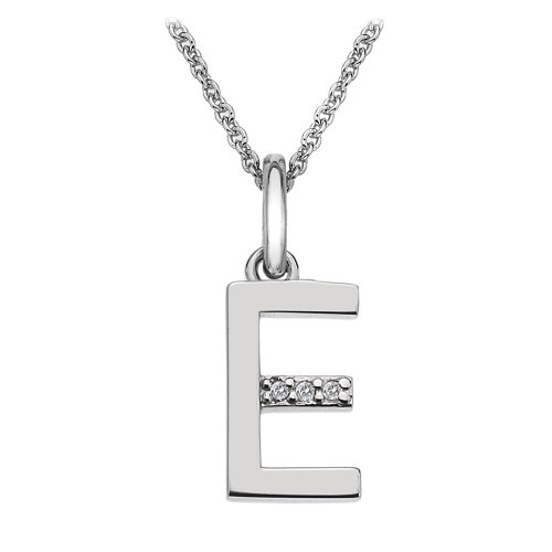 Hot Diamonds Round Diamond and Micro Letter E 925 Sterling Silver Pendant with 46 cm Curb Chain