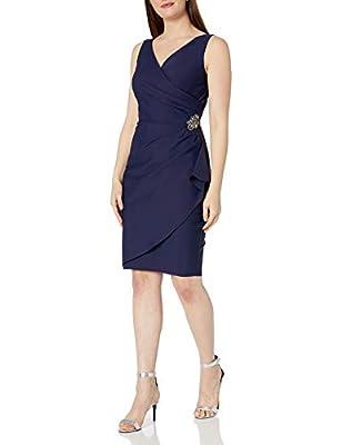 Alex Evenings Women's Short Side Ruched Dress with Cascade Ruffle Skirt, Navy, 12