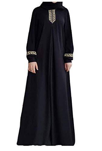 Abetteric Womens Long Sleeve Ethnic Style Full Zip Muslim Dresses Abaya Black XL
