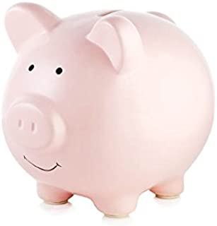 Tiny Ideas Ceramic Piggy Bank, Makes a Perfect Unique Gift, Nursery Décor, Keepsake, or Savings Piggy Bank for Kids, Pink
