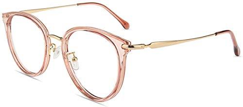 Firmoo Gafas Luz Azul para Ordenador Gaming UV Filtro Proteccion Ojos Antifatiga Gafas para Mujer Hombre,Gafas Montura Redondo Clásico, S947 Rosa