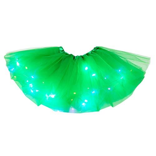 Damen Tüllrock 50er Rockabilly Petticoat Tutu Unterrock Kurz Ballett Tanzkleid Ballkleid Sexy LED leuchtet 3 Lagen Mesh PartyRock Abendkleid