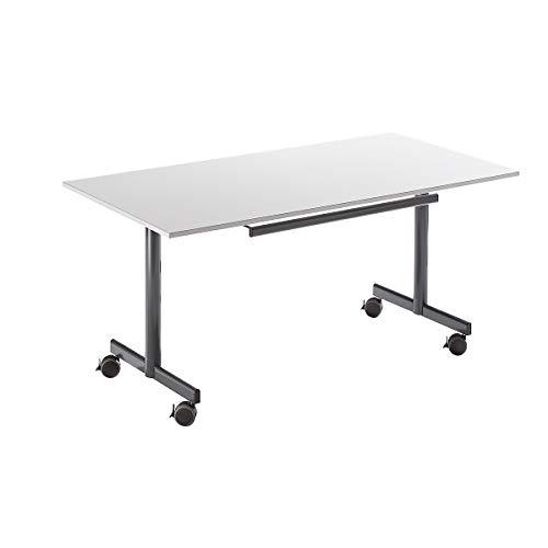 Bürotisch mit abklappbarer Platte, mobil - HxBxT 720 x 1600 x 800 mm - grau - Klapptisch Klapptische Konferenztisch Konferenztische Mehrzwecktisch...