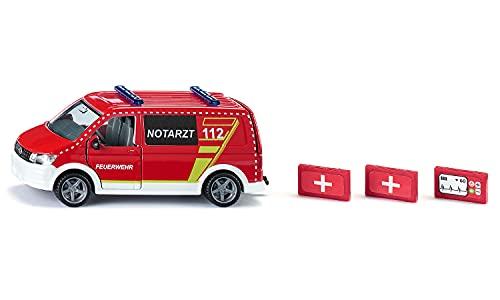 siku 2116, VW T6 Notarztwagen, Metall/Kunststoff, Rot/Weiß, Fahrer- und Beifahrertür und Heckklappe zum Öffnen, Inkl. Diagnosegerät und 2 Notarztkoffern