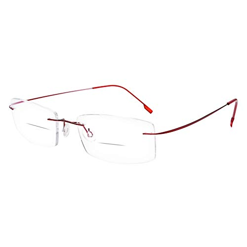 HUIHUIKK Super Light Rimless Frame Bifocal Reading Glasses +1.75 Red Readers Spectacles w Case