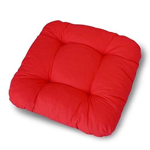 LILENO HOME 1er Set Stuhlkissen Rot (38x38x8 cm) - Sitzkissen für Gartenstuhl, Küche oder Esszimmerstuhl - Bequeme UV-beständige Indoor u. Outdoor Stuhlauflage als Stuhl Kissen
