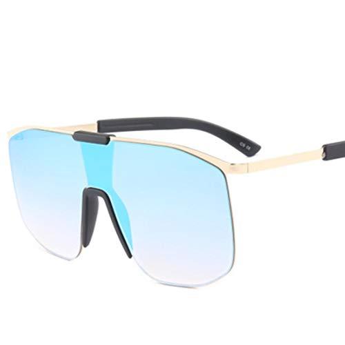 QSMIANA Gafas de sol Gafas De Sol Sin Montura Hombres Tamaño Grande Verde Negro Una Lente Tonos Grandes Para Las Mujeres Gafas De Sol Punk