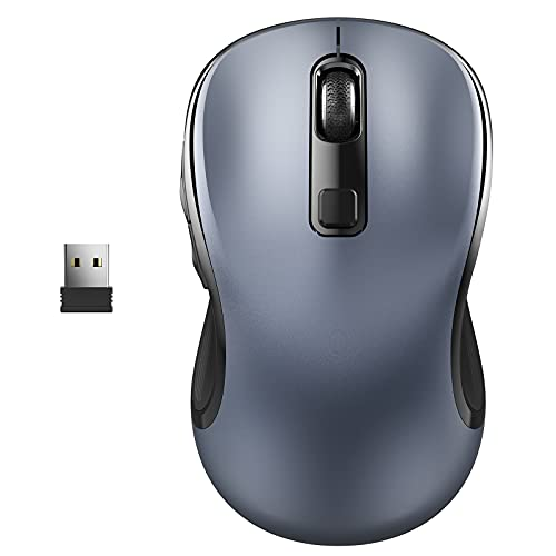WisFox Wireless Computer Mouse, 2.4G Wireless Ergonomic Mouse Portable Cordless Optical Mice for Laptop PC with USB Receiver, 3 Adjustable DPI Levels, 6 Buttons for Work, Study, Home, Travel (Grey)