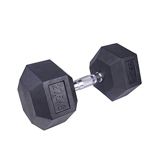 Mancuernas hexagonales fijas, anticaídas, antienrollables, para gimnasio y gimnasio de hierro de goma, peso corporal sólido y configurable (peso: 50 kg)