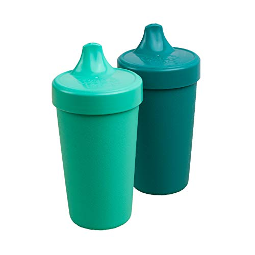 Re-Play MADE IN USA 2pk - 10 oz. Toddler Feeding No Spill Sippy Cups   1 Piece Silicone Easy Clean Valve   Eco Friendly Heavyweight Recycled Milk Jugs are Virtually Indestructible   Aqua, Teal