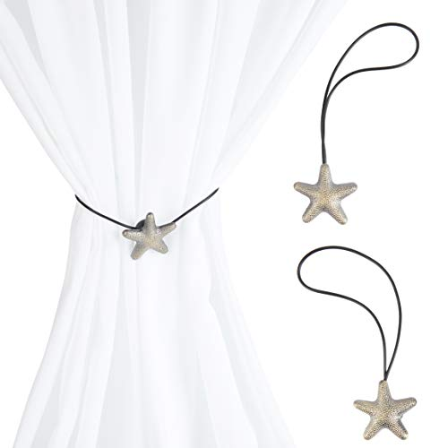 Okuna Outpost Magnetic Starfish Buckle Curtain Tiebacks, Holdbacks for Drapes (18 in, 1 Pair)