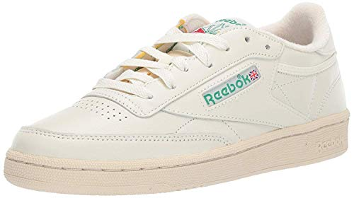 Reebok Women's Club C 85 Sneaker, Chalk/Glen Green/Paper White/Excellent red, 8