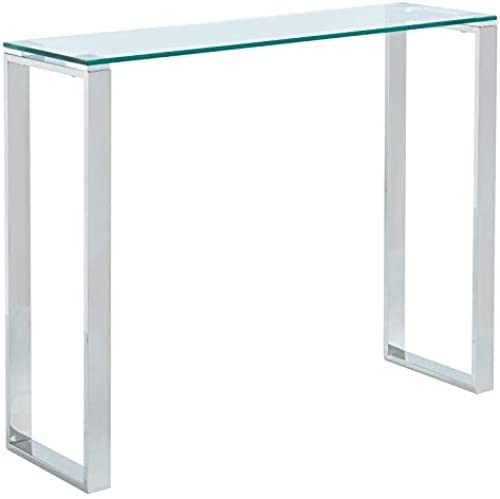 Varma Contemporary Stainless Steel & Glass Console Table in Silver