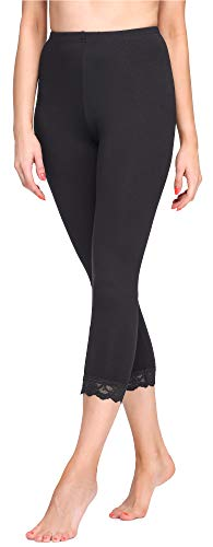 Merry Style Damen 3/4 Leggings MS10-290(Schwarz, XL)