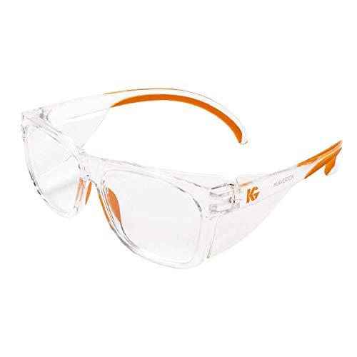 KLEENGUARD Maverick Occhiali di sicurezza con protezioni laterali integrate (1 paio) (49301 trasparente anti-appannamento con montatura trasparente e punte arancioni)
